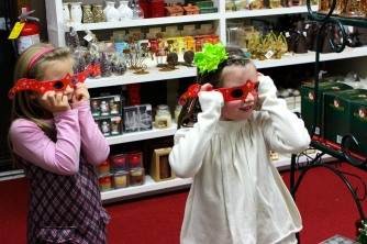ABINGTON, MA, December 7, 2013 — The two sisters use 3-dimensional glasses that they are about to purchase to look at The Christmas Place's lights and see reflective reindeer patterns.