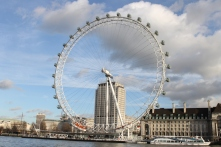 The London Eye on a sunny day, in London's Westminster area.