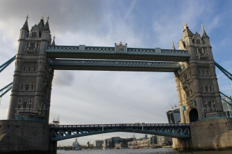 The Tower Bridge, as seen from the Thames river.