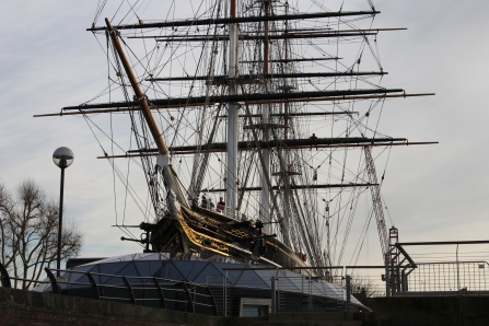 The Cutty Sark, permanently on land in London's Greenwich neighborhood.