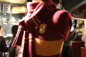 A knitted Gryffindor scarf in Kings Cross station.