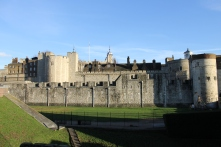 The Tower of London, as viewed from the side.
