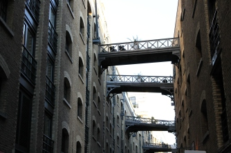 The borough of Southwark, near the Tower Bridge, was crammed tightly. Some apartments had bridge balconies like these pictured here.
