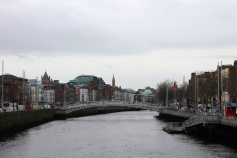 The River Liffey, which goes through the center of Dublin.
