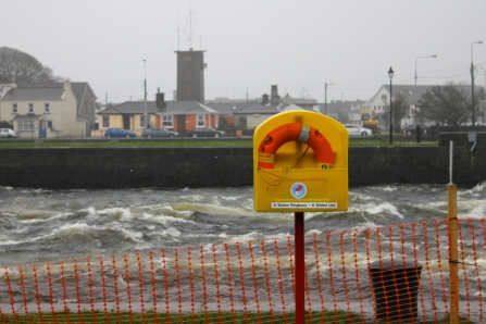In Galway, this buoy sits next to a violently churning river.