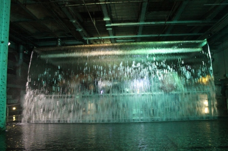 In the Guinness factory, visitors can reach out and touch the waterfall.