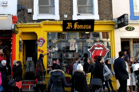 """Dozens of little off-beat shops such as """"B Famous"""" line the streets of Notting Hill — particularly Portobello Road."""