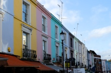 Colorful houses line the streets of Notting Hill, home to many artists and celebrities.