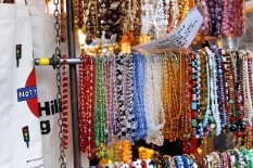 Booths of all kinds lined Portobello Road, and do so every single weekend. Beads and other jewelry were offered at this stand.