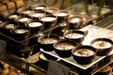You can even buy these tiny cups made of chocolate and filled with different flavored creams.