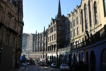 West Bow, a winding, beautiful street in Edinburgh.