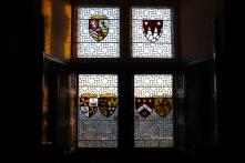 A stained glass window inside Edinburgh Castle.