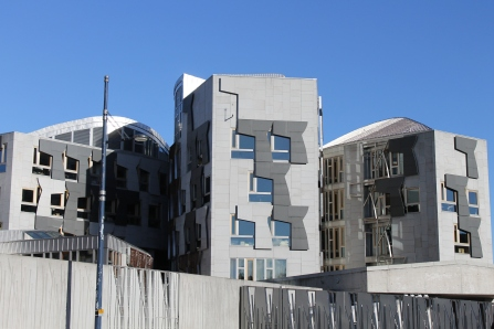 Some of Edinburgh's new apartments, which are extremely modern and contrast the rest of the city.