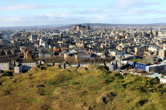 We sat on the edge of this craggy cliff that overlooks downtown Edinburgh.
