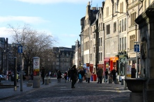 A view of the Grassmarket area of Edinburgh, which is filled with pubs, restaurants, hostels and hotels.