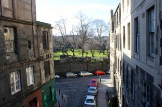 Greyfriars Kirkyard, a large cemetery in Edinburgh, as seen from afar.