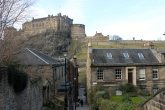 A beautiful street in Edinburgh, that has views of Edinburgh Castle.