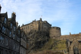 The view of Edinburgh Castle from the Grassmarket area.