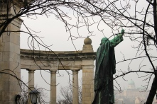 A statue up on a hill in Buda, overlooking Pest.