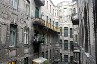A view from a window in our hostel of the surrounding buildings.