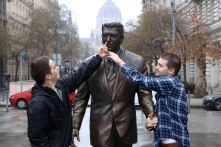 We found a statue of Ronald Reagan in Budapest.