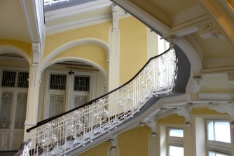 A view of the stairs inside our gorgeous hostel, Maverick Hostel.