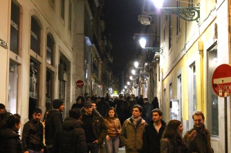 The streets of Lisbon, after dark.
